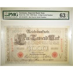 1910 1000 MARK  IMPERIAL BANK NOTE PMG 63 EPQ