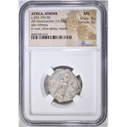 393-294 BC  TETRADRACHM ATTICA, ATHENS