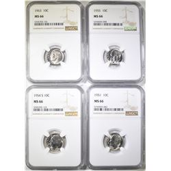 1951, 54-S, 55 & 63 ROOSEVELT DIMES, NGC MS-66