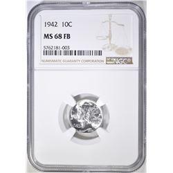 1942 MERCURY DIME, NGC MS-68 FB RARE!!!