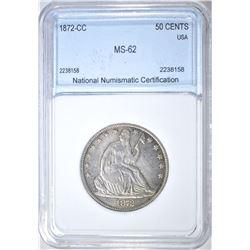 1872-CC SEATED LIBERTY HALF DOLLAR NNC CH BU