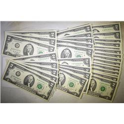 CONSECUTIVE RUNS OF $2.00 FRN ALL CU