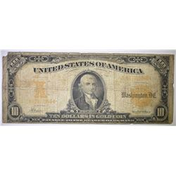 1907  $10 GOLD CERT  MISSING TOP LEFT CORNER TIP