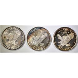 3-1oz SUNSHINE MINT SILVER ROUNDS NICE TONING