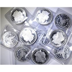 10-ONE Oz .999 SILVER MORGAN REPLICA ROUNDS