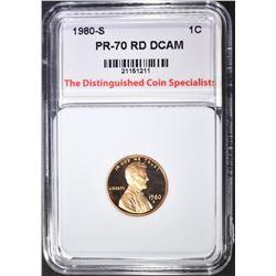 1980-S LINCOLN CENT, TDCS PERFECT GEM PR RD DCAM