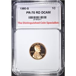 1980-S LINCOLN CENT, TDCS PERFECT GEM PR RD DCAM