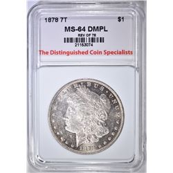 1878 7TF REV. OF 78 MORGAN DOLLAR, CH/ GEM BU DMPL