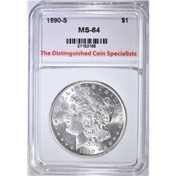 1890-S MORGAN DOLLAR, TDCS CH/ GEM BU