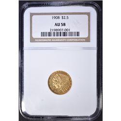1908 $2.5 GOLD INDIAN NGC AU-58