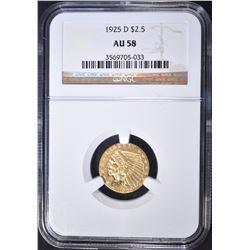 1925-D $2.5 GOLD INDIAN NGC AU-58