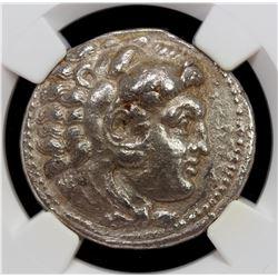 MACEDONIAN KINGDOM: Alexander III, the Great, 336-323 BC, AR tetradrachm, ND. NGC EF
