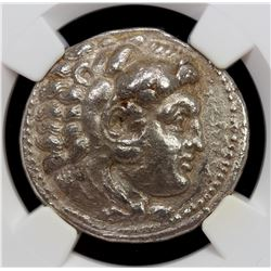 MACEDONIAN KINGDOM: Alexander III, the Great, 336-323 BC, AR tetradrachm, ND. NGC EF