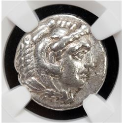 MACEDONIAN KINGDOM: Alexander III, the Great, 336-323 BC, AR drachm, ND. NGC EF