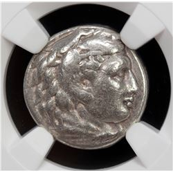 MACEDONIAN KINGDOM: Alexander III, the Great, 336-323 BC, AR drachm, ND. NGC F