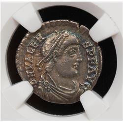 ROMAN EMPIRE: Valens, 364-378 AD, AR siliqua (1.92g), ND (368-75 AD). NGC EF