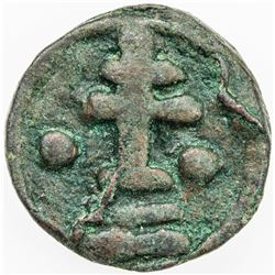 BYZANTINE EMPIRE: Basil I the Macedonian, 867-886, AE follis (4.37g), Cherson. F