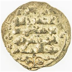 GHAZNAVID: Ibrahim, 1059-1099, AV dinar (1.78g), (Ghazna), DM, debased gold (as usual), VF