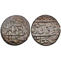 ZAND: Karim Khan, 1753-1779, AR double abbasi, Shiraz, AH1182. EF