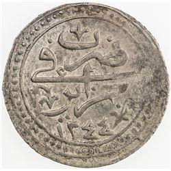 ALGIERS: Mahmud II, 1808-1839, AR 1/4 budju, Jaza'ir, AH1244. VF