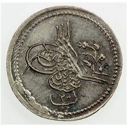 EGYPT: Abdul Aziz, 1861-1876, AR 20 para, AH1277 year 13. UNC