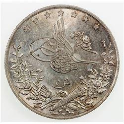 EGYPT: Abdul Hamid II, 1876-1909, AR 5 qirsh, AH1293 year 15-W. AU