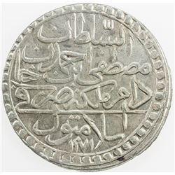 TURKEY: Mustafa III, 1757-1774, AR 2 zolota, AH1171 year 8. EF-AU