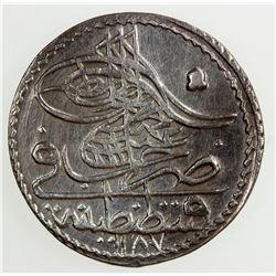 TURKEY: Abdul Hamid I, 1774-1789, BI 5 para, AH 1187 year 3. AU