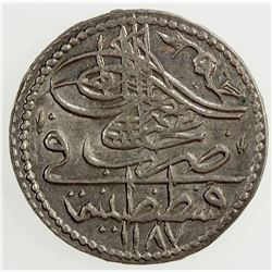 TURKEY: Abdul Hamid I, 1774-1789, BI 5 para, AH 1187 year 13. AU