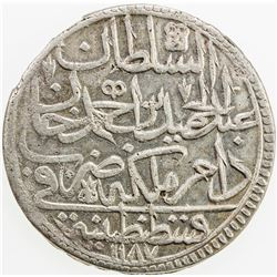 TURKEY: Abdul Hamid I, 1774-1789, AR zolota, AH1187 year 15. EF