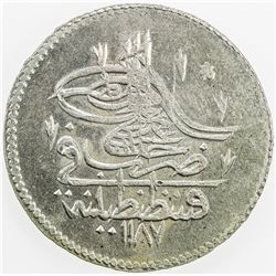 TURKEY: Abdul Hamid I, 1774-1789, AR piastre, AH1187 year 2. EF-AU