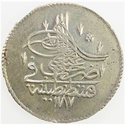 TURKEY: Abdul Hamid I, 1774-1789, AR piastre, AH1187 year 5. AU
