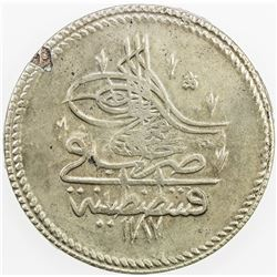 TURKEY: Abdul Hamid I, 1774-1789, AR piastre, AH1187 year 7. EF