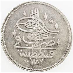 TURKEY: Abdul Hamid I, 1774-1789, AR piastre, AH1187 year 8. EF-AU