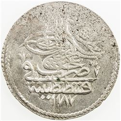TURKEY: Abdul Hamid I, 1774-1789, AR piastre, AH1187 year 16. EF