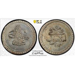 TURKEY: Selim III, 1789-1807, AR 5 para, Islambul, AH1203 year 5. PCGS MS66
