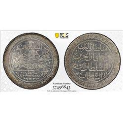 TURKEY: Mahmud II, 1808-1839, AR 30 para, Kostantiniye, AH1223 year 14. PCGS MS65