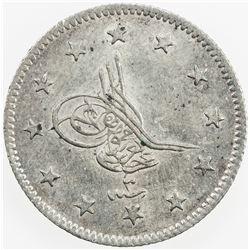 TURKEY: Abdul Aziz, 1861-1876, AR 2 kurush, AH1277 year 3. AU