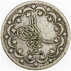 TURKEY: Abdul Aziz, 1861-1876, AR 10 kurush, Kostantiniye, AH1277 year 2. F-VF