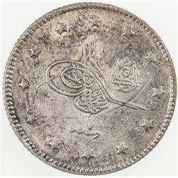 TURKEY: Mehmet V, 1909-1918, AR 2 kurush, Kostantiniye, AH1327 year 7, KM-770, EF-AU