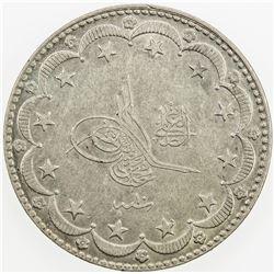 TURKEY: Muhammad V, 1909-1918, AR 20 kurush, AH1327 year 10. EF
