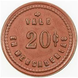 ARGENTINA: TIERRA DEL FUEGO: red vulcanite 20 centavo token, ND. EF