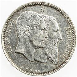 BELGIUM: Leopold II, 1865-1909, AR franc, 1880. EF