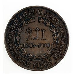 BOHEMIA: Franz Josef I, 1848-1916, AE medal (128.9g), 1908. VF