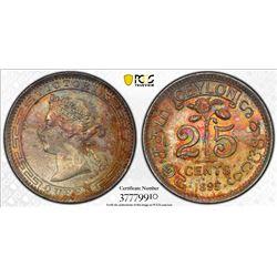 CEYLON: Victoria, 1837-1901, AR 25 cents, 1895. PCGS MS64