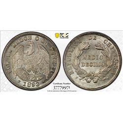 CHILE: Republic, AR 1/2 decimo, 1893. PCGS MS66