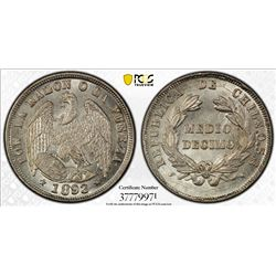 CHILE: Republic, AR 1/2 decimo, 1893. PCGS MS66