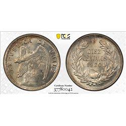 CHILE: Republic, AR 10 centavos, 1920. PCGS MS66