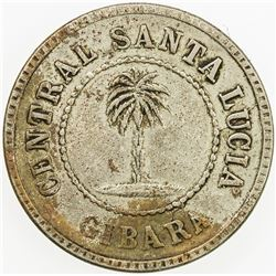 CUBA: one ration token, 1884. VF