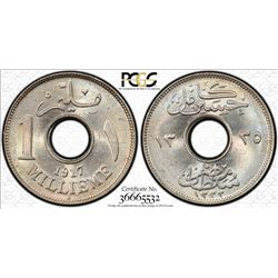 EGYPT: Hussein Kamil, 1914-1917, 1 millieme, 1917-H/AH1335. PCGS MS65